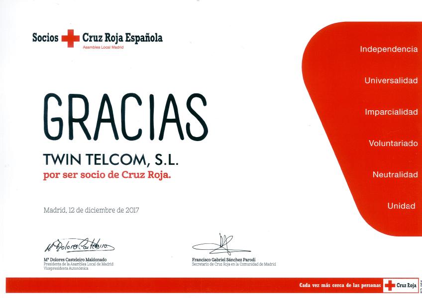cartel gracias cruz roja twintelcom