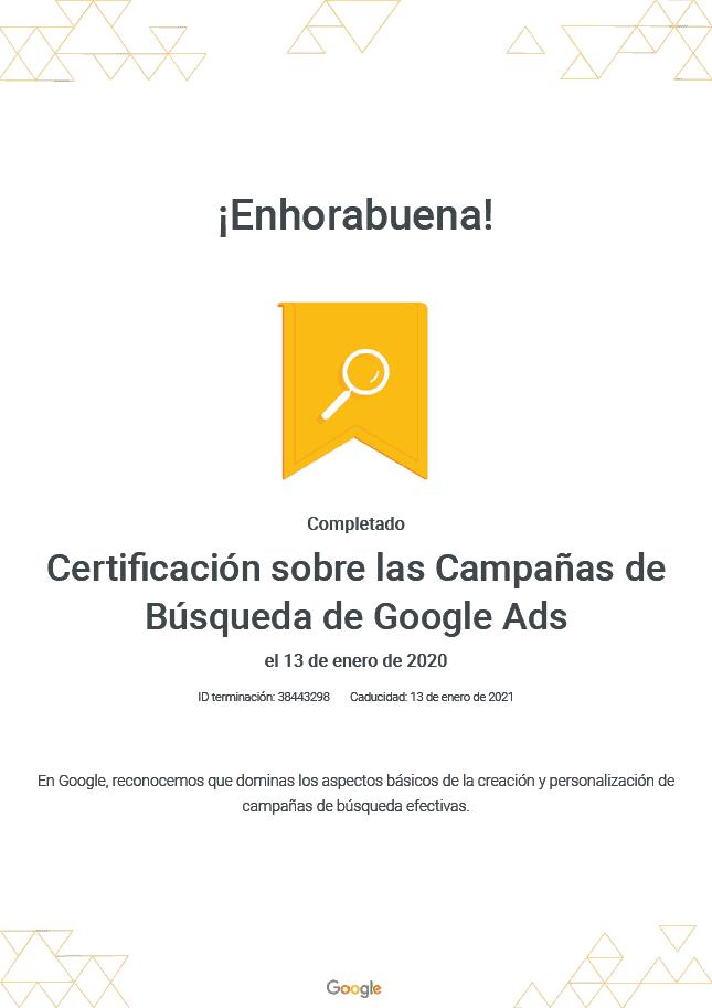 Certificación Twintelcom Google Ads - Campañas de Búsqueda